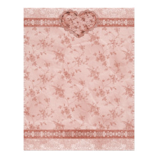 spring romance pink floral and lace heart personalized flyer