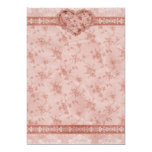 spring romance pink floral and lace heart 5x7 paper invitation card