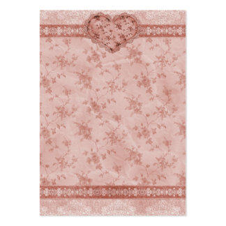 spring romance pink floral and lace heart large business card