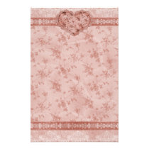 spring romance pink floral and lace heart stationery