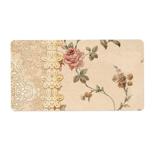 spring romance victorian rose pattern personalized shipping label