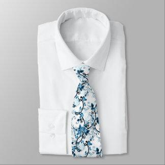 Spring Rose Vine in Blue - Neck Tie