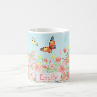 spring roses butterflies watercolor customizable coffee mug