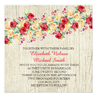 Spring Roses Wood Wedding Invite