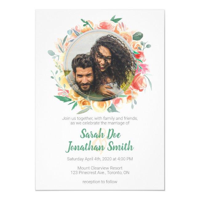 Spring Round Floral Frame Wedding Invitation