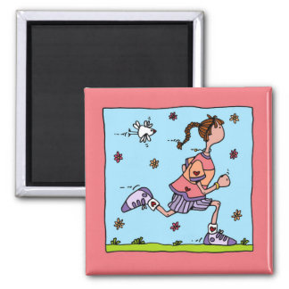 spring runner (woman) 2 inch square magnet