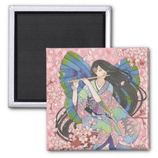 Spring Sakura Fairy square magnet