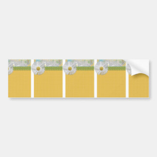 SPRING SCRAPBOOKING DAISY WHITE FLOWER YELLOW GREE BUMPER STICKER
