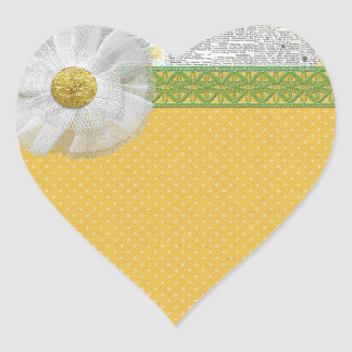 SPRING SCRAPBOOKING DAISY WHITE FLOWER YELLOW GREE HEART STICKER