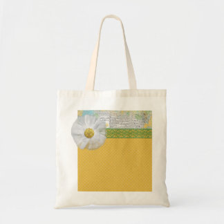 SPRING SCRAPBOOKING DAISY WHITE FLOWER YELLOW GREE TOTE BAG