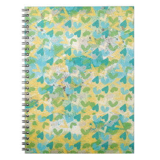 SPRING SCRAPBOOKING HEARTS LAYERED  SPLATTERS WHIT NOTEBOOK