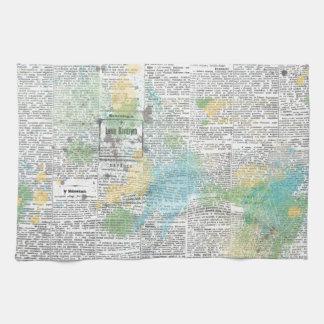 SPRING SCRAPBOOKING NEWSPAPER GRUNGE BLUE YELLOW G KITCHEN TOWEL