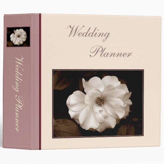 'Spring Sepia Rose' Wedding Planner/Binder 3 Ring Binder