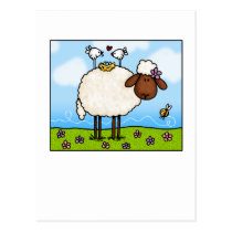 spring sheep postcard
