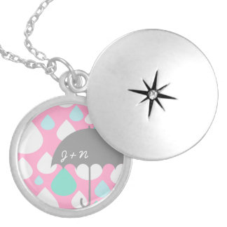 Spring Showers Umbrella Initials  gift Necklace