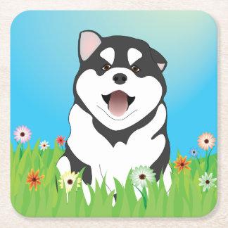 Spring Siberian Husky Puppy Coaster