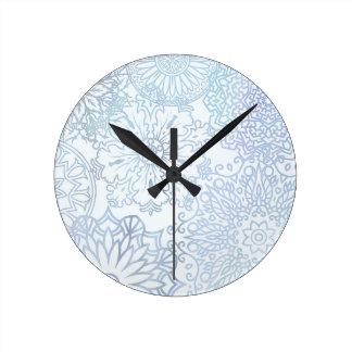Spring skies mandala round clock