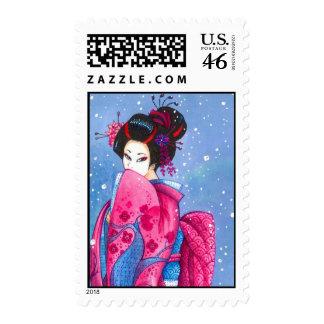 Spring Snow, Maiko Geisha Kimono Japanese Art Stamp