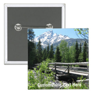 Spring Snow on Grand Tetons with Bridge over River Buttons
