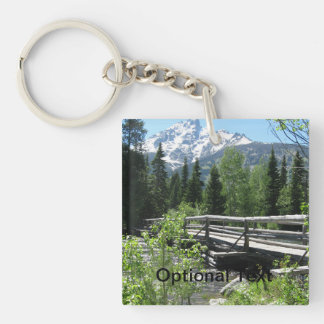 Spring Snow on Grand Tetons with Bridge over River Double-Sided Square Acrylic Keychain