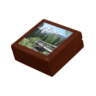 Spring Snow on Grand Tetons with Bridge over River Keepsake Box