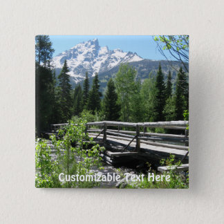 Spring Snow on Grand Tetons with Bridge over River Pinback Button
