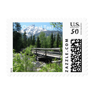 Spring Snow on Grand Tetons with Bridge over River Postage