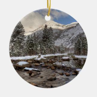 Spring snow, Sierra Nevada, CA Ceramic Ornament
