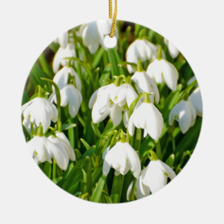 Spring Snowflake & Summer Snowflake or Loddon Lily Double-Sided Ceramic Round Christmas Ornament