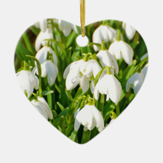 Spring Snowflake & Summer Snowflake or Loddon Lily Double-Sided Heart Ceramic Christmas Ornament