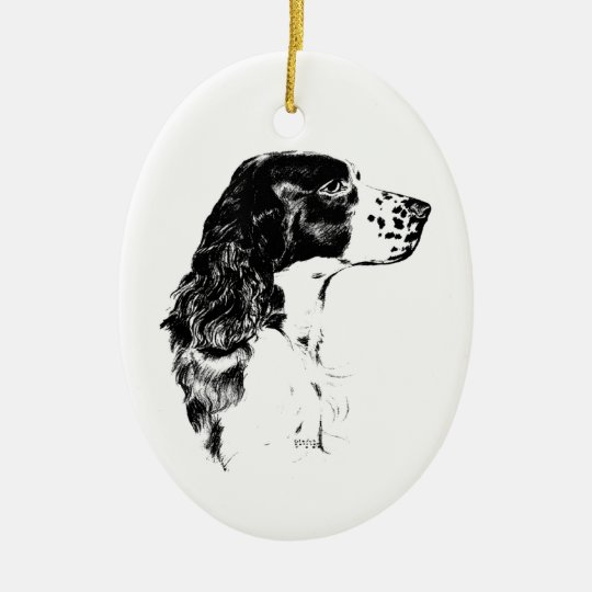Spring Spaniel Vintage Art Drawing Dog Ornament