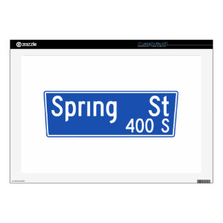 Spring Street, Los Angeles, CA Street Sign Laptop Skins