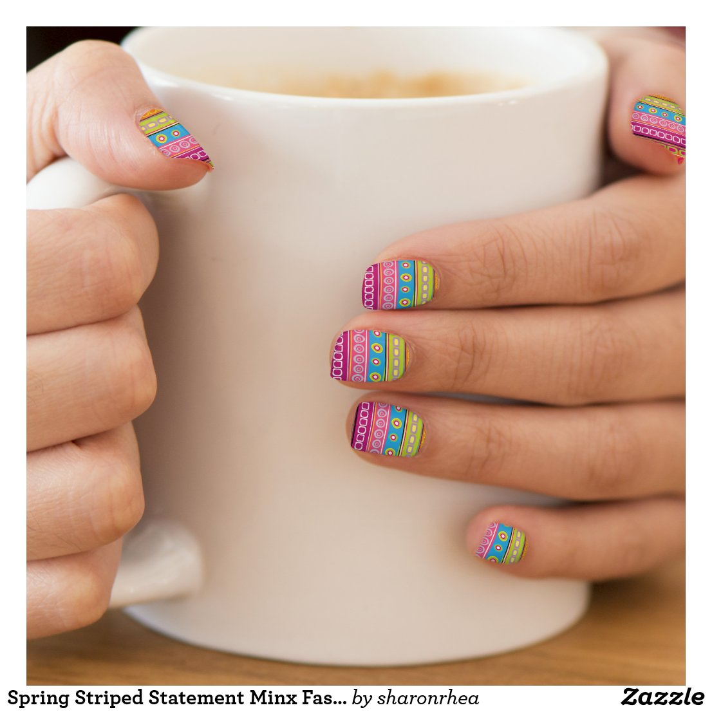 Spring Striped Statement Minx Fashion Nails - SRF Minx Nail Art