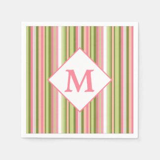 Spring Stripes Monogram Cocktail Napkin