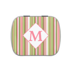 Spring Stripes Monogrammed Jelly Bean Tin Jelly Belly Candy Tin at Zazzle