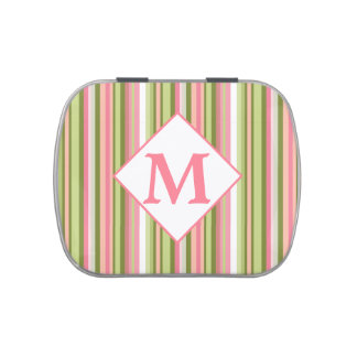 Spring Stripes Monogrammed Jelly Bean Tin Jelly Belly Tin