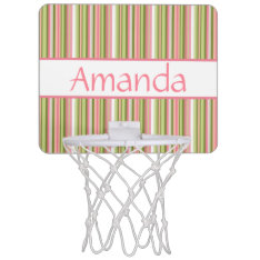 Spring Stripes Personalized Mini-basketball Goal Mini Basketball Backboard at Zazzle