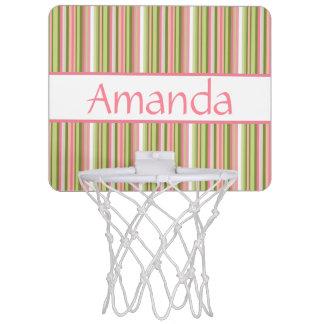 Spring Stripes Personalized Mini-Basketball Goal Mini Basketball Backboard