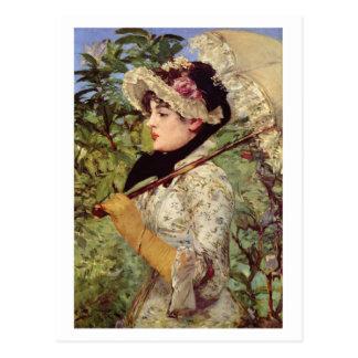 Spring (Study of Jeanne de Marsy) by Edouard Manet Postcard