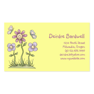 Spring Stuff · Purple Flowers & Butterflies Double-Sided Standard Business Cards (Pack Of 100)