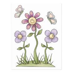 Spring Stuff · Purple Flowers & Butterflies Post Cards