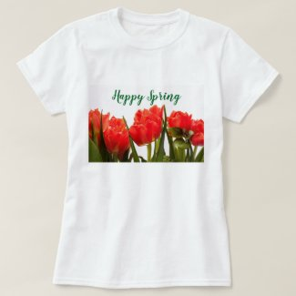 Spring Style T-Shirt with Red Tulip Flowers