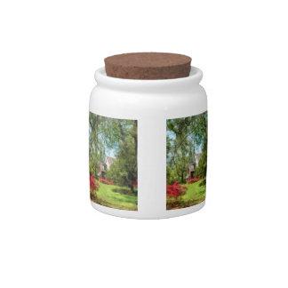 Spring - Suburban House With Azaleas Candy Jar