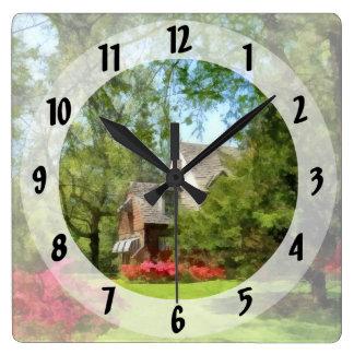 Spring - Suburban House With Azaleas Square Wall Clock