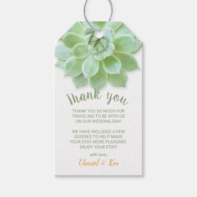 Spring Succulent Wedding Favor Tag Thank You Tag Zazzle Com