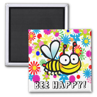 spring summer cute cartoon bee happy 2 inch square magnet