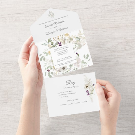 Spring Summer Floral Wildflowers Leaves Stems   All In One Invitation