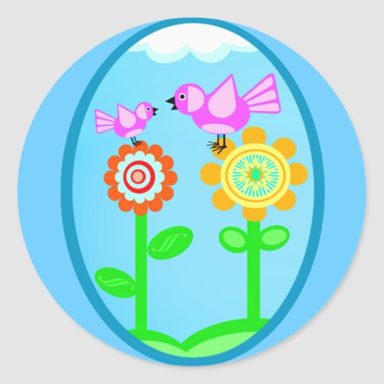 Spring / Summer Flowers & Birds Classic Round Sticker