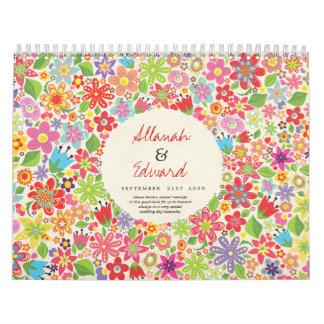 Spring Summer Flowers Wedding Photo Guest Book Calendar