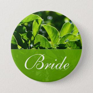 Spring, summer green leaves bride wedding pinback button